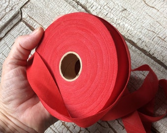 "Vintage red bias ribbon roll,New old stock,Wide Seambinding,Seventies ribbon bias tape,Roll of ribbon,Border tape,7/8"" wide"