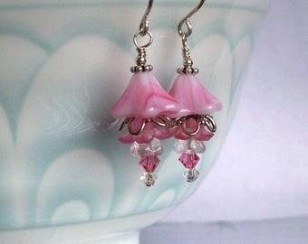 Spring Blush – Swarovski Crystal, Glass Bell Flower Bead, Acrylic Bell Flower Bead And  Sterling Silver Earrings