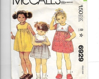 McCall's Child's Dress Pattern 6929