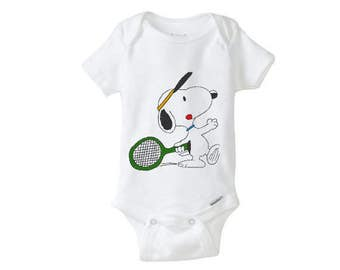 TENNIS SPORT Snoopy embroidered Baby Girl Boy Onesie, embroidered onepiece, baby undershirt, unisex baby,