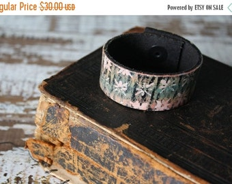 SALE- Custom Leather Cuff-Create Your Own-Rainbow Wall Flower-Word Cuff-Hand Painted-Kids Size