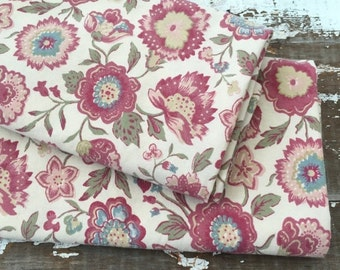 SALE- Old World Floral Fabric-Reclaimed Bed Linens-Country Shabby Chic