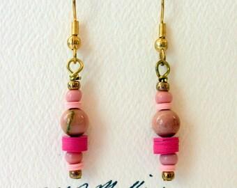 Earrings Gemstone Earrings Dangle Earrings Mookaite Pink #024