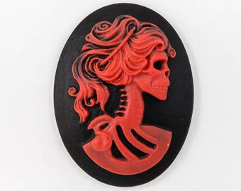 30mm x 40mm Red and Black Skeleton Cameo #FPB102