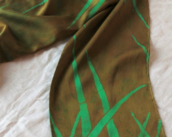 green and bronze silk scarf