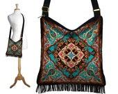 Bohemian Hippie Bag Hobo Purse Crossbody Bag Gyspy Bag Fringe Purse Handbag Kaleidoscope Mandala turquoise blue orange red RTS