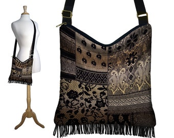 Bohemian Purses, Hippie Bag, Cross Body Purse with Fringe, Crossbody Bags,  Black Brown Fabric Boho Bag, Tapestry Bag, beige gold  RTS
