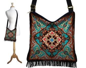 Bohemian Hippie Bag Hobo Purse Crossbody Bag Gyspy Bag Fringe Purse Handbag Kaleidoscope Mandala turquoise blue orange red MTO