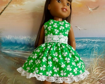 Hearts 4 Hearts Corolle Les Cheries Doll Dress Green and White Shamrock Dress Also Fits Wellie Wishers