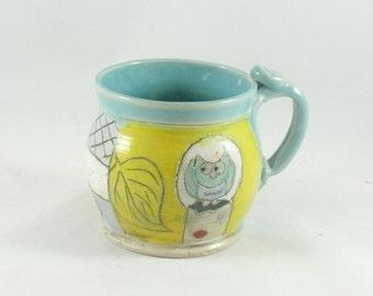 Ceramics and Pottery, Coffee Cup, Contemporary Design, Owl Mug, tall teacup, tea mug or pottery mug  beer tankard, stein Holds 10 ounces 663
