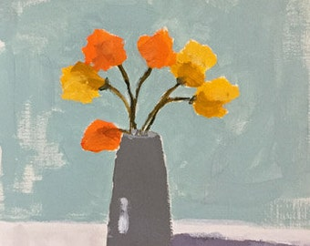 flower painting orange and yellow art wall art home decor original