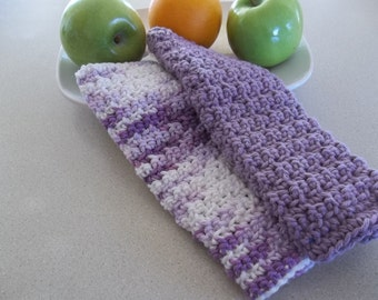 Dish Cloths -  A set of 2 Hand Crochet Dish/Wash/Face Cloths - Lavender and Multicolor - Gift Idea