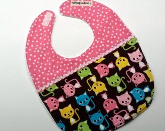 Baby Bib-Baby Girl Bib-Cats-Baby Shower Gift-Toddler Bib