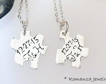Couples Personalized Letter Puzzle Piece Set Necklace, Initial and personal date puzzle necklace, Sale puzzle piece set jewelry