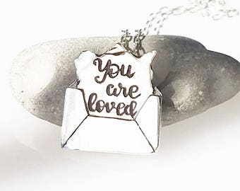 Love Message Letter in ENVELOPE Personalized with your choice of words Necklace, Love letter, I love you jewelry, wife gift, husband gift