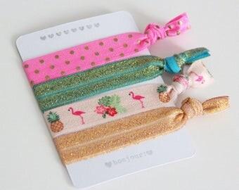 Set of 4 hair ties - elastics - no crease hair ties - stretch bracelets - flamingos - dots - gold - party favor - favor gift - summer