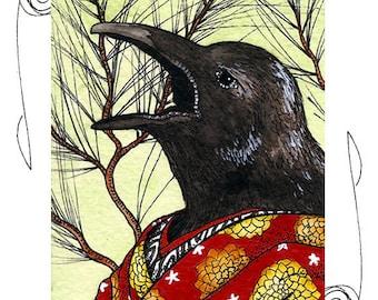 Crow Ukiyo-e ACEO 2.5x3.5 Print Sketch Card