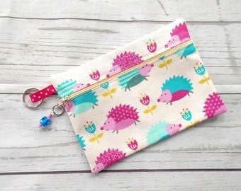 Hedgehog Cosmetic Bag - Hedgehog Lover Clutch Purse - Hedgehog Pencil Case - Hedgehog Purse - Hedgehog Make Up Bag - Hedgehog Lover Gift