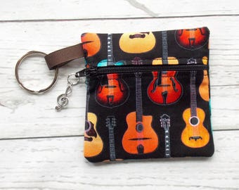 Guitar Ear Bud Case - Ear Bud Holder - Earphone Case - Guitar Coin Purse - Music Teacher Gift - Guitar Key Chain Case - Music Lovers Gift