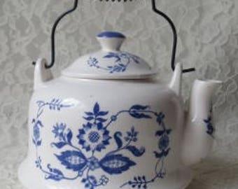 Vintage Blue Flowers on White Enamel Teapot, Servingware Kitchen Home
