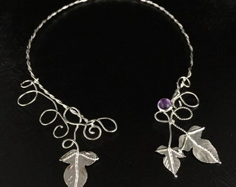 Woodland Fae Elvish Neck Torc, Sterling Silver Torque, Woodland Leaves Necklace, Handmade, One of a Kind Neck Torcs, Wedding Accessories