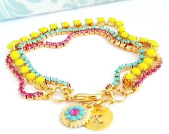 Hand Stamped Initial Swarovski Turquoise Pink Fuchsia Neon Yellow Charm Bracelet