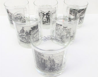Vintage Currier and Ives Glasses Set of 6 Rocks Winter Theme Scenes Printed Glasses Old Fashioned