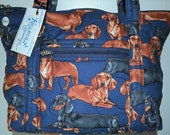 Quilted Fabric Handbag Purse Navy with Adorable Dachshund Dogs