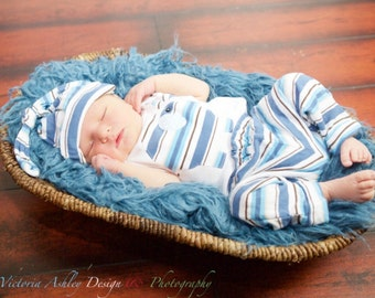 Striped ELEPHANT Jersey Knit SET---pants, onesie with matching hat--- newborn boys clothing