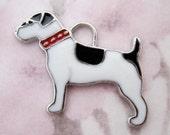 3 pcs. silver tone enamel black and white dog pendants charms 26x18mm - f5306
