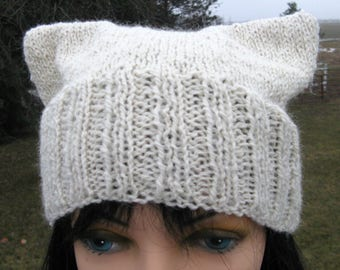 White Pussy Cat Hat, Knit Pussy Hat, Adult hat, Knit Cat Hat, Handknit Beanie, Alpaca Hand knit Hat
