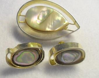 De Nicola Abalone Mother of Pearl Gold Tone Teardrop Modernist Brooch or Screw Back Earrings Mid Century
