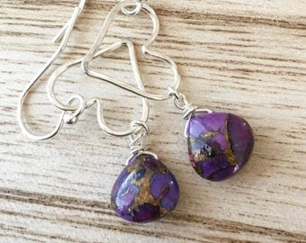 Love Earrings - Purple Copper Turquoise