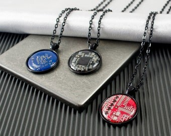 Circuit Board Jewelry, Recycled Computer Necklace, Necklace for Men, Masculine Necklace, Graduation Gift for Him, Black Necklace, Geekery