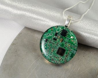 CHOOSE COLOR Circuit Board Necklace LARGE, Recycled Motherboard Jewelry, Wearable Technology, Computer Gift, Computer Programmer, Upcycled