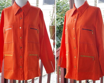 TANGERINE 1960's 70's Vintage Bright Orange Polyester Button Down Shirt with Lots of Zippered Pockets // size Medium // by King James