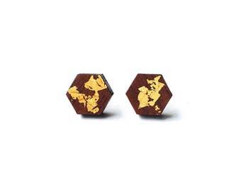 Mini Hexagon Earrings. Hexagon Earrings. Wood Earrings. Stud Earrings. Laser Cut Earrings. Wood and Gold. Gold Leaf Earrings. Geometric.
