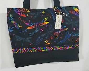 Rainbow Dragonflies purse tote bag handbag
