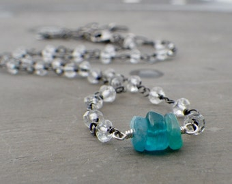 Apatite Crystal Necklace, Crystal Quartz Necklace, Rosary Chain Necklace, Raw Apatite Necklace, Blue Apatite Necklace, Layering Jewelry