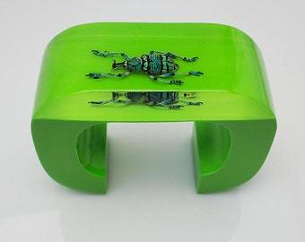 Unique large bright green cuff bracelet with real insect