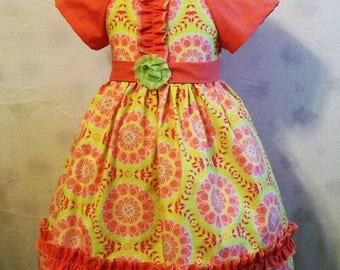 Girls Dresses, Peach Dress,  Peasant Dresses, Big Girls Dress, Girls dress, Girls Boutique Dress, Handmade, USA Made, #55