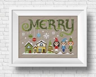 Merry - Christmas Wor(l)ds - PDF cross stitch pattern