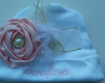 newborn hat girl, baby hospital hat = newborn hat - newborn baby girl - baby - pink - baby girl beanie - baby girl clothes, personalized