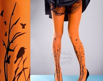 ON SALE/// Tattoo Tights -  orange one size Forest Symphony full length closed toe printed tights pantyhose, tattoo socks, printed nylons