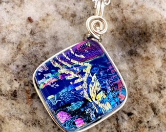 SMALL Dichroic Glass Pendant Pretty Multilayered Wire wrapped