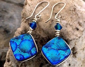 Dichroic Glass Earrings Turquoise/Blue Wire-Wrapped with Sterling Hooks