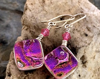Dichroic Glass Earrings Translucent  Pink Wire-Wrapped with Sterling Hooks