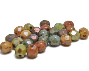 Fire Polished Beads - Czech Glass Beads - Picasso Beads - Round Beads - 5mm Round - 25pcs(3928)