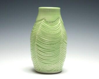 Green Bud Vase, Handmade Pottery, Wave and Dot Design, Home Decor, Small Ceramic Vase