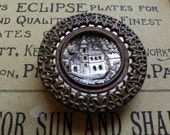 "Castle Design, Mirrored, 1.5"" Victorian Picture Button. Lovely."